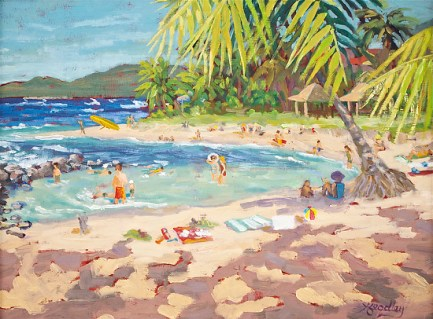 """Poipu Beach Day"" plein air painting by Angela Headley"
